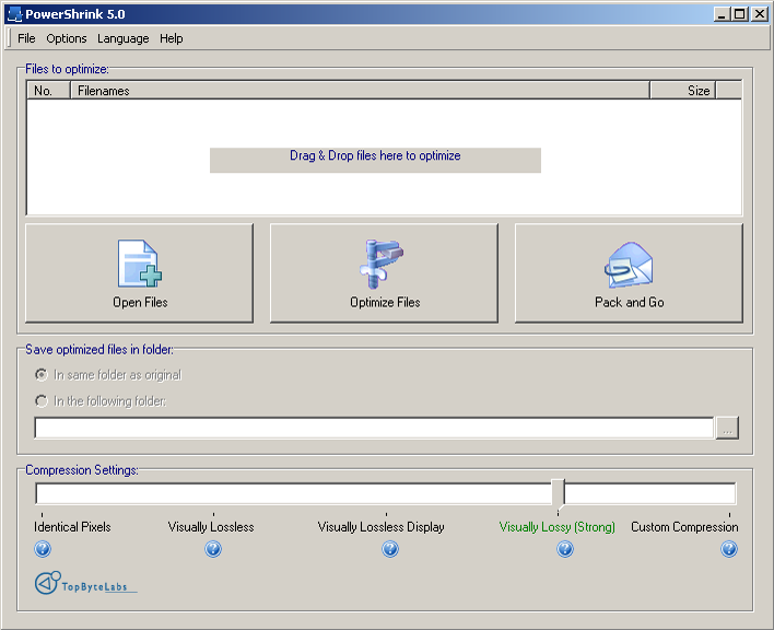 PowerShrink 6.0 - Screenshot